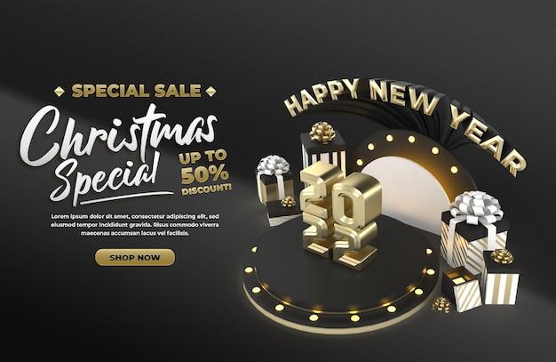Black happy new year 2022 en kerstviering evenement en advertentie social media poster