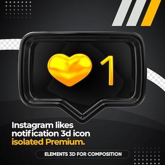 Black instagram houdt van geïsoleerd meldingspictogram aan de voorkant