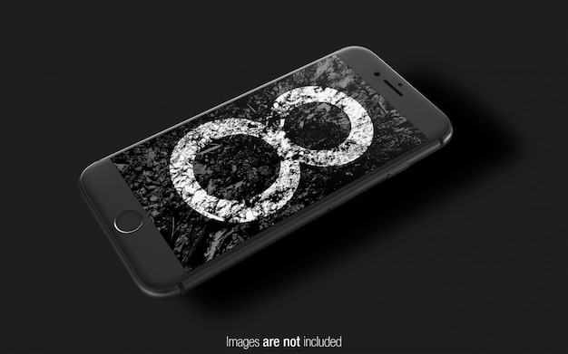 Black iphone 8 psd mockup perspective mockup