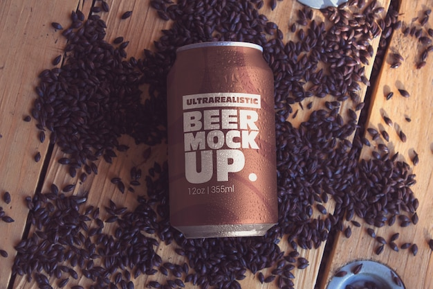 Black malt beer can mockup