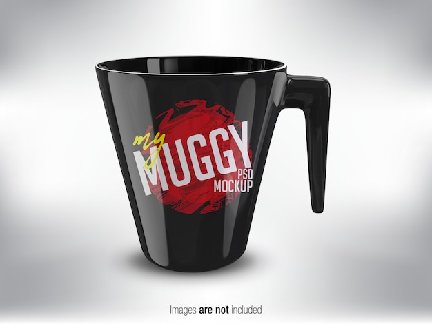 Black mug psd mock-up