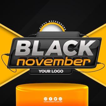 Black november-logo 3d voor compositie
