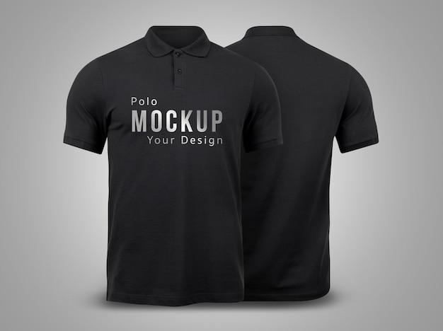 Black polo mockup voor- en achterkant