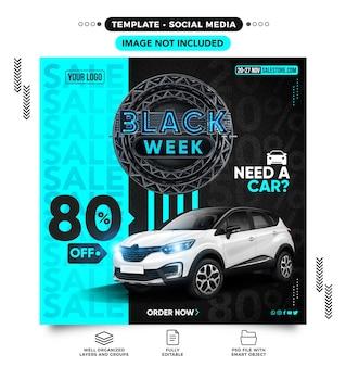 Black week-feedsjabloon voor sociale media heeft een auto met 80 korting nodig