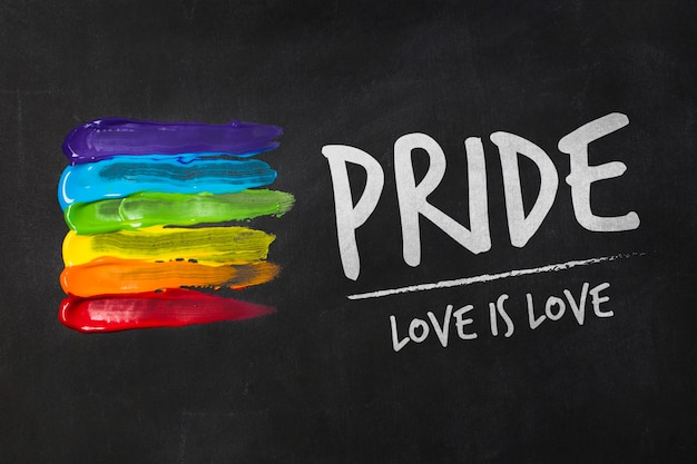 Blackboard gay pride mockup