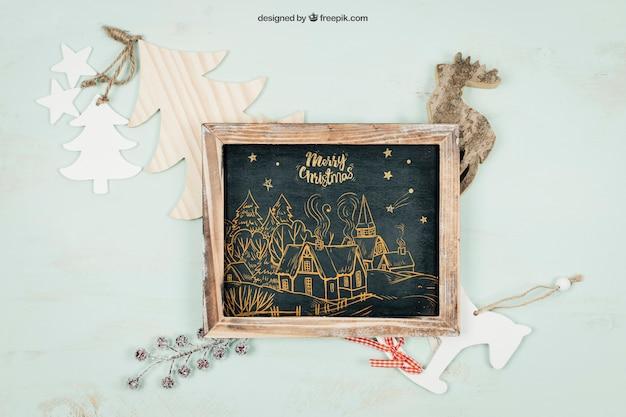 Blackboard-mockup met christmtas-ontwerp