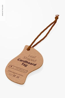 Bladvormige kartonnen tag-mockup