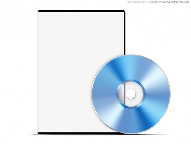 Blank caso bianco con dvd, web template psd
