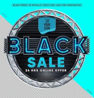Blauw 3d-logo black friday-uitverkoop 24 uur online deals