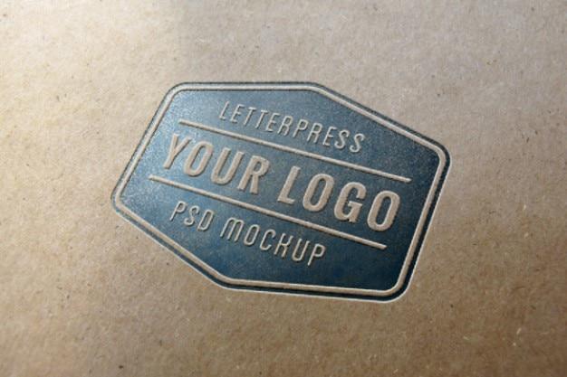 Blauw boekdruk logo mockup