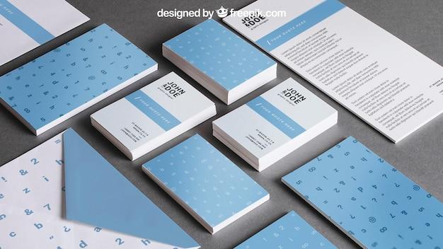 Blauw briefpapiermodel