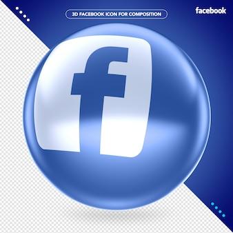 Blauw ellips 3d facebook-logo