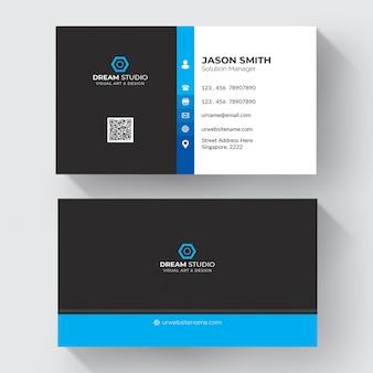 Blauw en wit visitekaartje