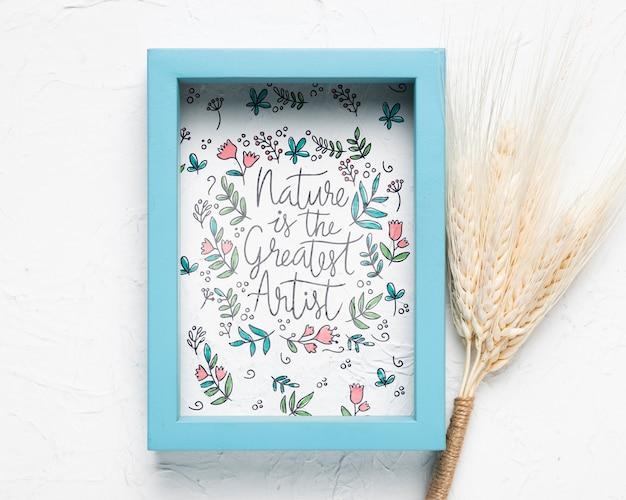 Blauw frame met citaat op effen achtergrond