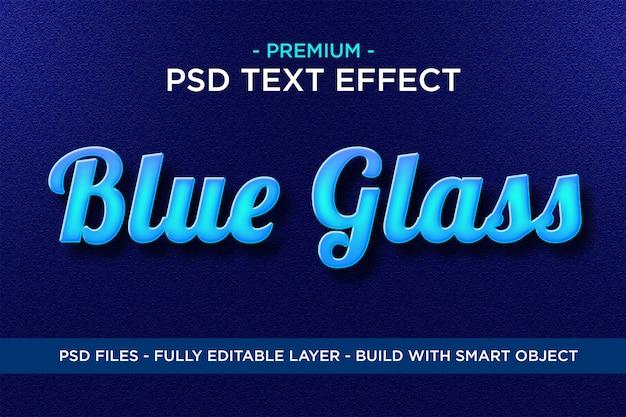 Blauw glas premium photoshop psd-stijlen teksteffect