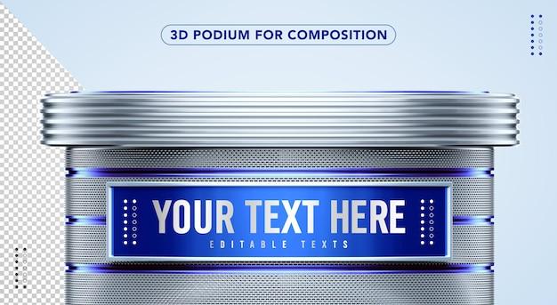 Blauw met zilveren 3d podium om hier uw tekst in te voegen