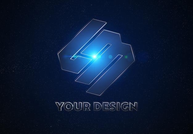 Blauw metalen logo in de ruimte mockup