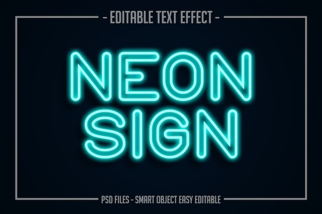 Blauw neon tekststijl bewerkbaar lettertype-effect