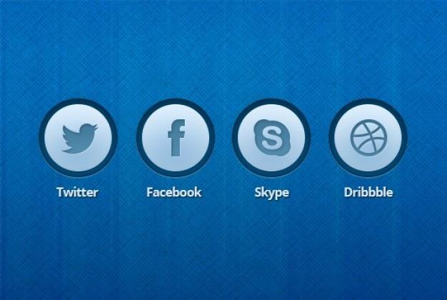 Blauw pictogram knoppen bewerkbare psd