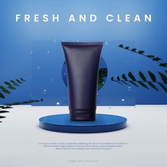 Blauw vers podium met plant en vloeistof in glazen vierkant