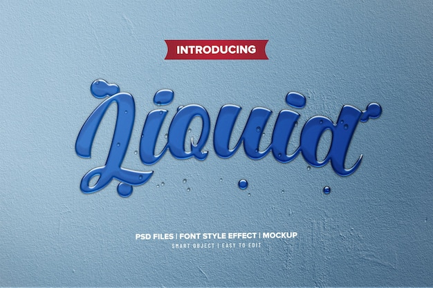 Blauw vloeibaar premium teksteffect
