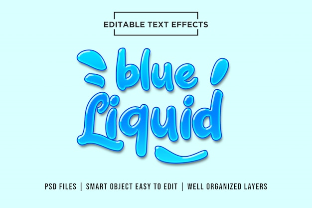Blauw vloeistof bewerkbaar teksteffect mockup