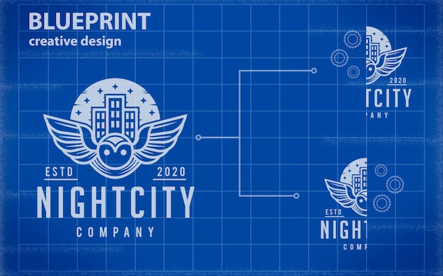 Blauwdruk logo mockup