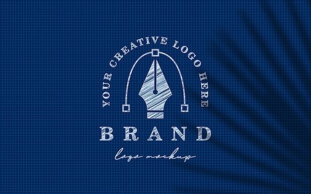 Blauwdruk schets logo mockup