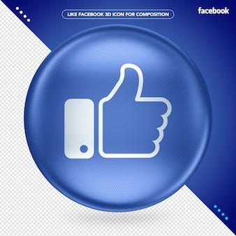 Blauwe 3d-ellips zoals facebook