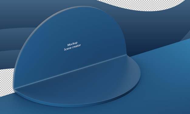 Blauwe abstracte scène geometrie vorm voor productstandaard cirkelvorm mockup