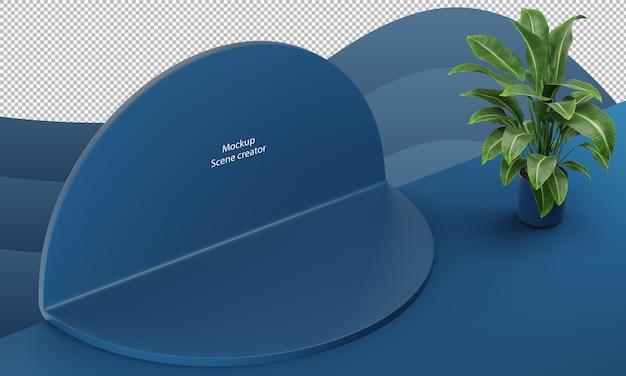 Blauwe abstracte scènegeometrievorm voor productstandaard met plant in de pot cirkelvorm mockup