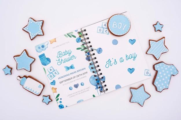 Blauwe baby douche decoraties