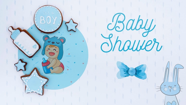 Blauwe baby douche decoraties