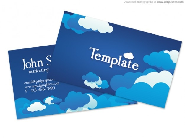 Blauwe bewolkte hemel business card template (psd)