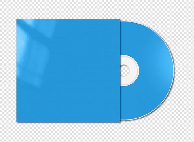 Blauwe cd - dvd mockup sjabloon geïsoleerd op wit