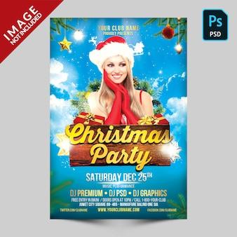 Blauwe cristmas party flyer