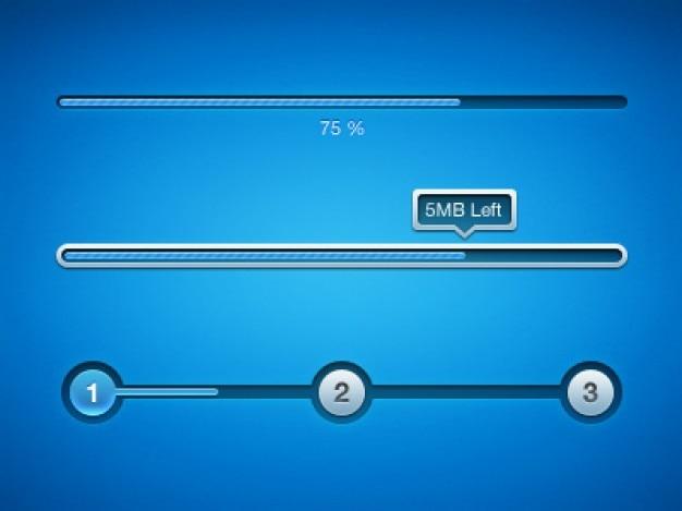 Blauwe downloaden voortgangsbalk psd