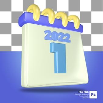 Blauwe en witte 3d-weergave van het kalenderobject van het vroege jaar met het nummer van 1 januari