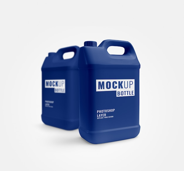 Blauwe gallon mockup reclame