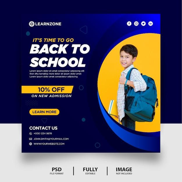 Blauwe gradiënt terug naar school promotie social media post banner