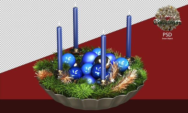 Blauwe kerstkom vol glimmende ornamenten klatergoud en kaarsen