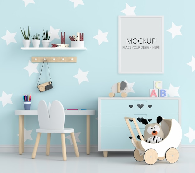 Blauwe kinderkamer met frame mockup