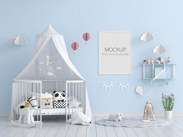 Blauwe kinderslaapkamer met frame mockup
