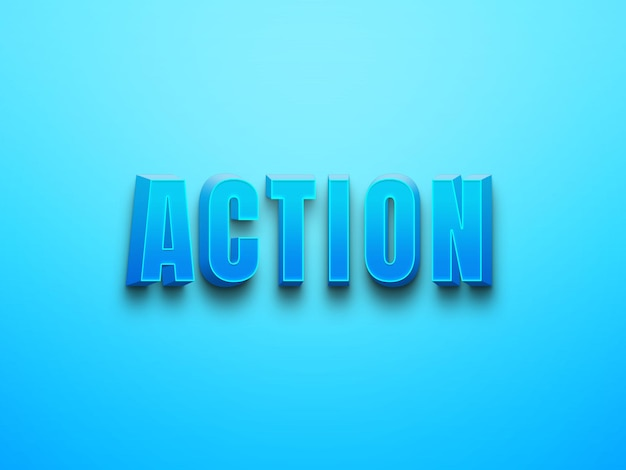 Blauwe kleur actie bewerkbare psd-teksteffecten