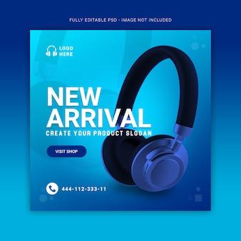 Blauwe kleur hoofdtelefoon merk product sociale media post banner