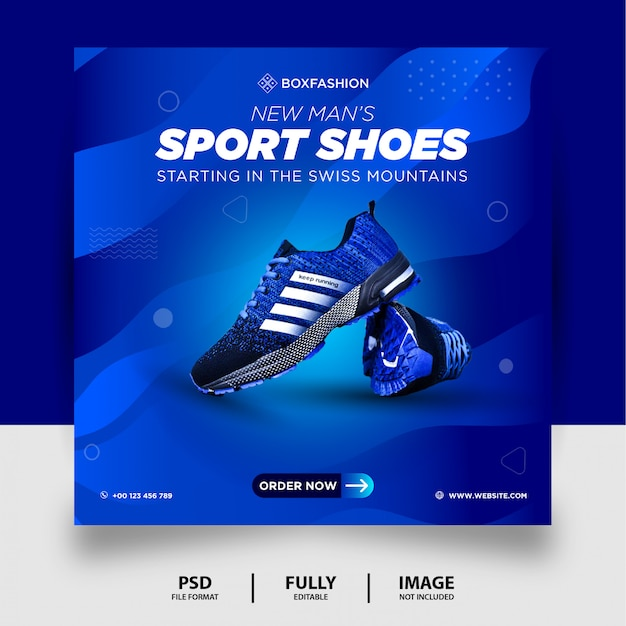 Blauwe kleur sportschoenen merk product social media post banner