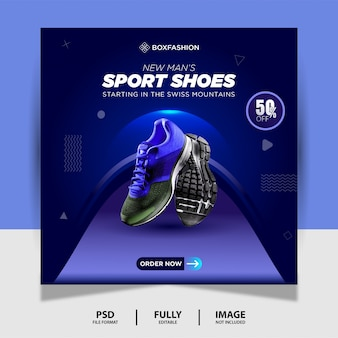 Blauwe kleur sportschoenen social media post banner