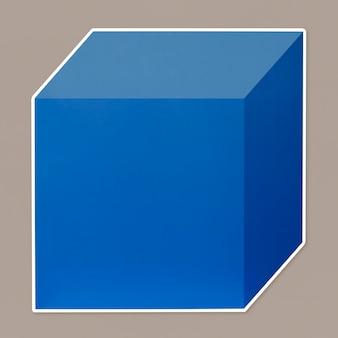Blauwe kubieke doos sjabloonpictogram