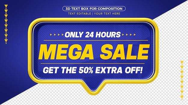 Blauwe mega-verkoopbanner met geel met 50% korting