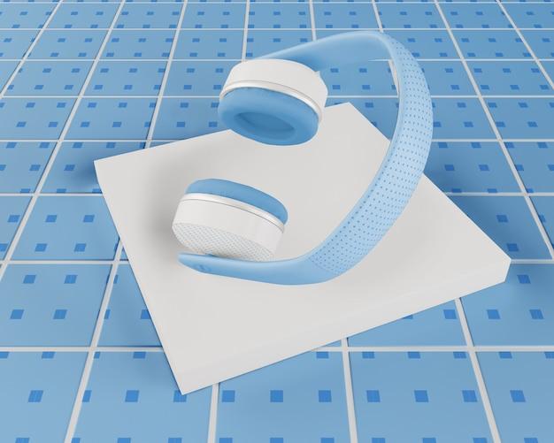 Blauwe minimalistisch ontworpen hoofdtelefoon